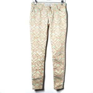 Mint and Coral Paisley Skinny Jeans